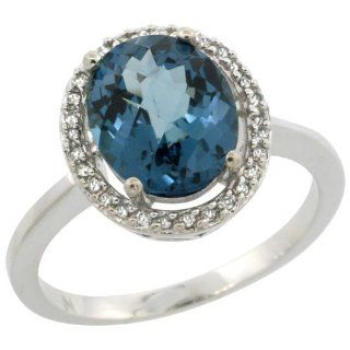 Sterling Silver Diamond Halo Natural London Blue Topaz Ring Oval 10X8 mm, 1/2 inch wide, sizes 5 10 Jewelry