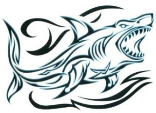 "Black & Blue Tribal Shark Temporary Body Art Tattoos 2.5"" x 3.5"" Clothing"