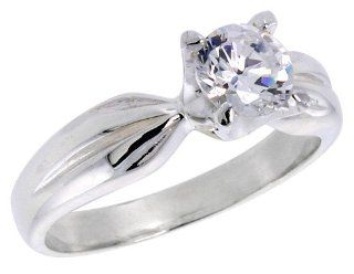 Sterling Silver Ladies' Cubic Zirconia Ring 1 ct Center Flawless finish, sizes 6   10 Jewelry