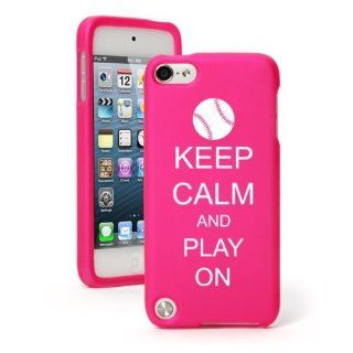 Apple iPod Touch 5th Generation Hot Pink Rubber Hard Case Snap on 2 piece BH233 Keep Calm and Play On Baseball Softball Cell Phones & Accessories