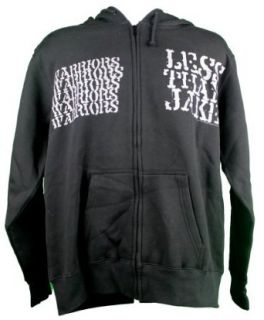 Rock Solid Shirts Less Than Jake Warriors Mens Zip Front Hooded Sweatshirt Hoodie   X Large   Black Clothing