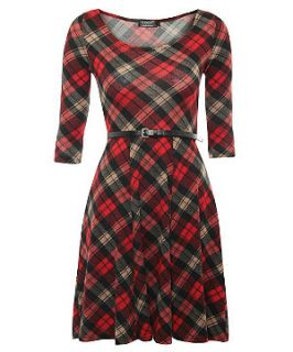 Pussycat Red Tartan Belted Skater Dress