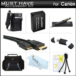 Must Have Accessory Kit For The New Canon EOS M, EOS M Compact Systems Mirrorless Camera, EOS SL1 DSLR Includes Extended Replacement (1150Mah) For Canon LP E12 Battery + Ac/Dc Rapid Travel Charger + Mini HDMI Cable + Deluxe Case + Screen Protectors +More