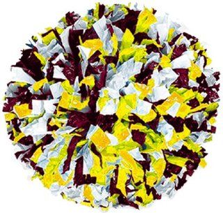 3 Color Mix Wet Look Cheerleaders Poms DARK MAROON/GOLD/WHITE 3/4 W 6 L WET LOOK STRANDS  Sports & Outdoors