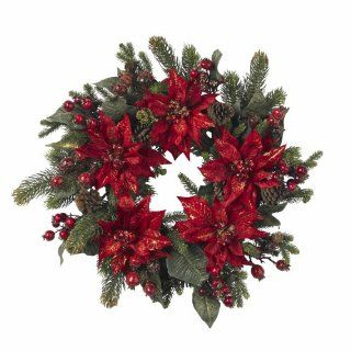 "Real Looking 24"" Poinsettia & Berry Wreath   Holiday   Silk Wreath   Artificial Mixed Flower Arrangements"