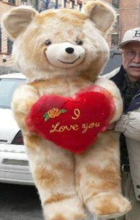 "LIFESIZE 42"" VALENTINE LOVE TEDDY BEAR * SOFT FUR LOOKS LIKE MINK * HOLDS BIG PLUSH RED HEART EMBROIDERED WITH THE WORDS I LOVE YOU   COLOR MINK   AMERICAN MADE IN THE USA AMERICA   GREAT FOR VALENTINES DAY or ANY DAY Toys & Games"