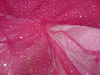 CERISE / HOT PINK Hologram Spangle Dress Nett TUTU Fancy Dress Bridal Fabric Prestige Fashion UK Ltd 150CM WIDE