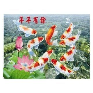 "3D Image Greeting Poster of Plastic Hard Cardboard ""Gold Fish Means Good Luck and Good Health"" for Feng Shui Purpose Home, Office, Business Measure 15 5/8"" (L) x 11 5/8"" (H) x 1/32"" (W)  Prints"