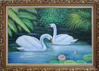 Lovely Pair of Swans in Pond With Lilies And Green Plants Large Oil Painting, with Ornate Gold Wood Frame 30x42 Inch