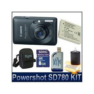 Canon PowerShot SD780IS 12.1 MP Digital Camera with 3x Optical Image Stabilized Zoom and 2.5 inch LCD (Black) Enthusiast Kit  Point And Shoot Digital Camera Bundles  Camera & Photo