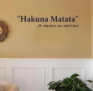 "Hakuna Matata It Means No Worries Vinyl Wall Decal Sticker Art (4"" X 23"")   Lion King Wall Decals"