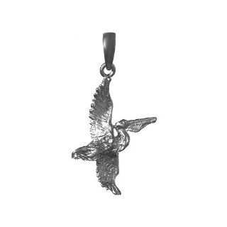 925 Sterling Silver Nautical Necklace Charm Pendant, Pelican Flying Million Charms Jewelry