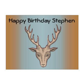 Vintage Surreal Deer Head Antlers Happy Birthday Yard Signs