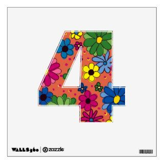 Wall Decal Number 4 Orange with Colorful Flowers Wall Decals