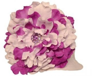Funny Girl Handmade Peony Flower Baby/Toddler Sun Hat   Purple & White Clothing
