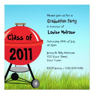 Graduation Summer BBQ Barbeque Party Custom Invites
