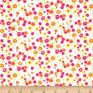 Printed Cotton Jersey Knit Petite Fleurs White/Multi Fabric By The YD