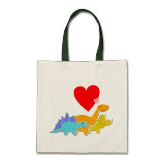 Cute Cartoon Dinosaurs Love Heart Bag
