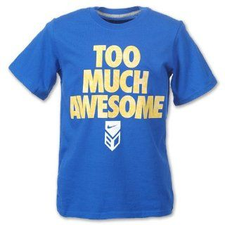 "Nike Dri FIT ""Too Much Awesome"" Kids' Baseball Tee Shirt (Medium, Blue) Sports & Outdoors"