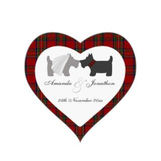 Bride & Groom Scottie Dogs & Tartan Favor Tag Heart Sticker