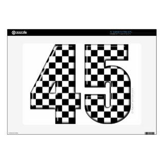 45 checkered number laptop decal