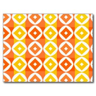 Bright Yellow and Orange Diamond Pattern Post Card