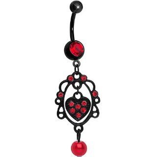 Black Red Gem Twisted Heart Chandelier Belly Ring Body Piercing Rings Jewelry