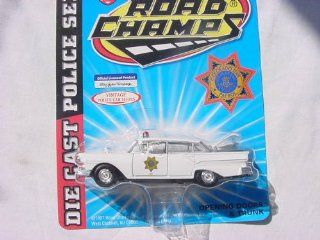 ROAD CHAMPS, 1/43 SCALE, DIE CAST MODEL, 1957 FORD FAIRLANE, COLORADO STATE PATROL, (WHITE) Toys & Games