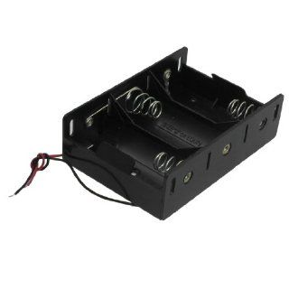 Gino Two Wires Black Plastic 3 x 1.5V D Battery Holder Cell Box Clip  Two Way Radio Battery Chargers   Players & Accessories
