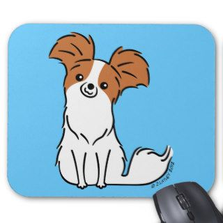 Cute Papillon Puppy Dog   Brown & White Mouse Pads