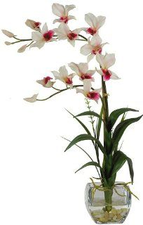 Nearly Natural 1135 WH Dendrobium with Glass Vase Silk Flower Arrangement, White   Artificial Flowers
