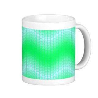 Light Blue Green Dot Wave Coffee Mugs