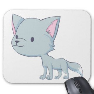 Custom Cute Smiling Cartoon Grey Baby Wolf Mouse Pads