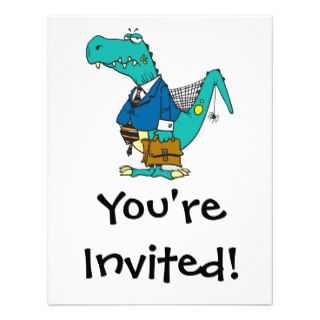 funny old dinosaur cartoon character custom invitation