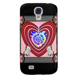 Bunnies Heart Frame Big Transparent Galaxy S4 Cases
