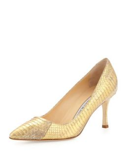 BB 70mm Low Heel Snake Pump, Gold   Manolo Blahnik   Gold (38.0B/8.0B)