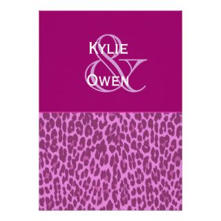 Magenta and Purple Leopard Wedding H545 Custom Invitations