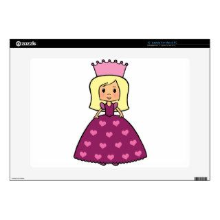 "Cute Cartoon Clipart Pink Princess Hearts Dress Decals For 15"" Laptops"