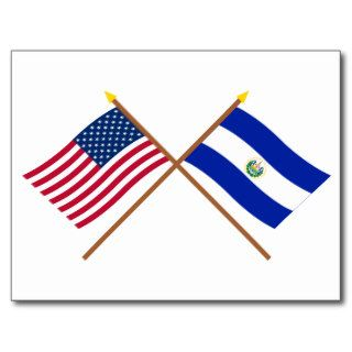 US and El Salvador Crossed Flags Post Cards
