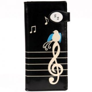 New Women's Black Singing Bird On A Music Note Large Wallet By Shagwear Trifold Wallet Women