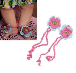 AllHeartDesires 1 Pair Newborn Baby Girl Boy Infant Crochet Barefoot Sandals Flower Footwear Shoes Photo Prop Hot Pink&Blue+Free Gift,Lace Doilies,Random Colors Shoes