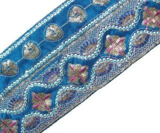 1 Yd Wide Blue Fabric Copper Gold Sequin Embroidery Trim Fabric Ribbon  Worldwide