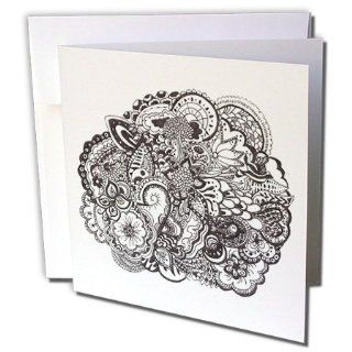 gc_58346_2 InspirationzStore Pen and Ink drawings   Detailed Intricate Black and white ink art   nature scene   flowers leaves tree patterns   tattoo   Greeting Cards 12 Greeting Cards with envelopes  Blank Greeting Cards