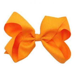 Wee Ones Little Girls Orange Glitter Grosgrain Ribbon Big Hair Bow Apparel Accessories Clothing
