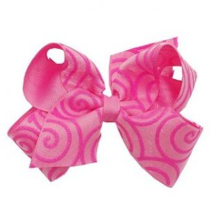 Wee Ones Girls Fuchsia Swirl Grosgrain Ribbon Double Bow Hair Clippie Wee Ones Clothing