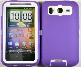 Hard Plastic Snap on Cover Fits HTC Inspire 4G Desire HD Armor Purple White Hybrid Case (Outside Purple Soft Silicone Skin, Inside Black Front and Back Hard Case) AT&T Cell Phones & Accessories