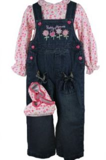 BT Kids Baby Girls Denim Overall Set with Matching Shoes 24 Months  Clothing