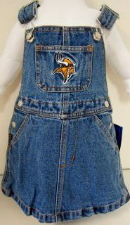 NFL Officially Licensed Minnesota Vikings Girls Bib Overall Jean Skirt (Size 3T) By Reebok  Infant And Toddler Sports Fan Apparel  Sports & Outdoors