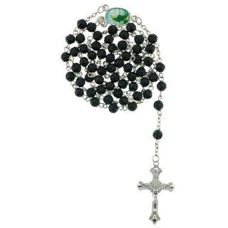 Black Rose Bud Bead Chain Link Rosary   St. Jude Centerpiece   28 in. Necklace   19 in. Overall Jewelry