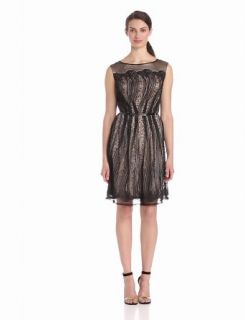 Adrianna Papell Women's Pleats Placed Lace Shift Dress, Black, 6